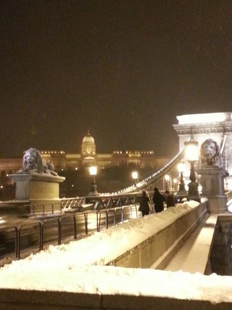 Budapest Best Apartments:                   Chain bridge at night.