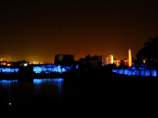 Luxor Sound and Light Show: Karnak sound and light, rear view of temple