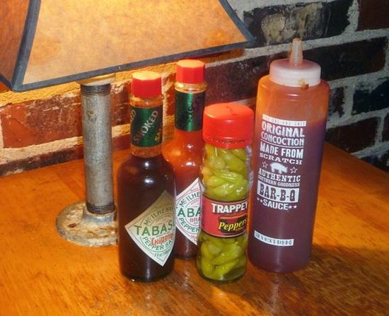 Jim N Nick's Bar-B-Q:                   only one BBQ sauce, but we like it; a little heat's available