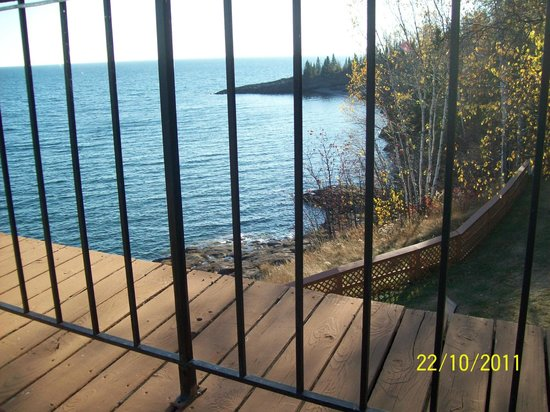 Chateau LeVeaux on Lake Superior:                   View front front deck