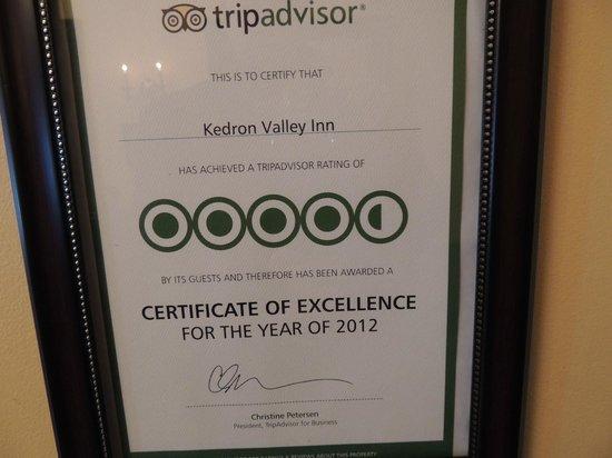 Kedron Valley Inn: Tripadvisor award