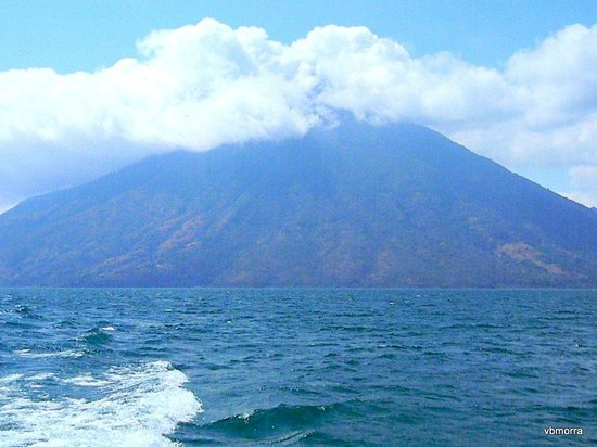 Hotel Atitlan:                   View from beach of Lake Atitlan