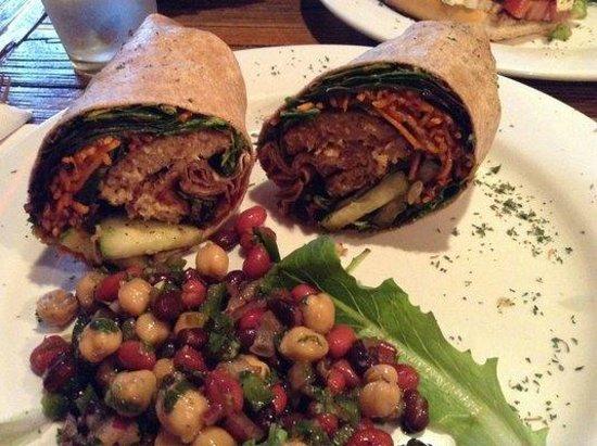 Lemoni Cafe : Healthy and yummy soy burger wrap + 3 bean salad.  Soooo flavorful!