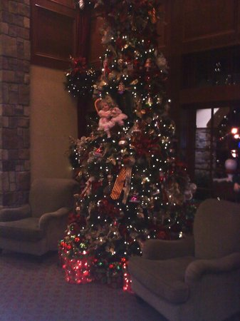 The Inn at Christmas Place:                   Tree in lower lobby