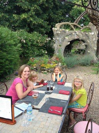 Logis La Brèche:                   Dining al fresco, great ambiance