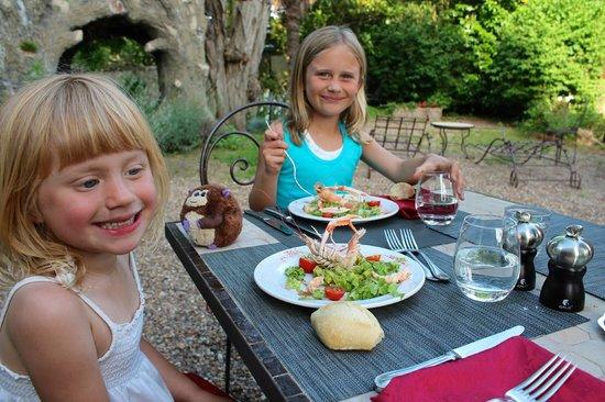 Logis La Breche:                   Garden dining, langoustine salad
