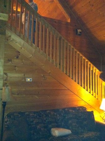 Mountain Shadows Log Home Resort:                   stairs to loft