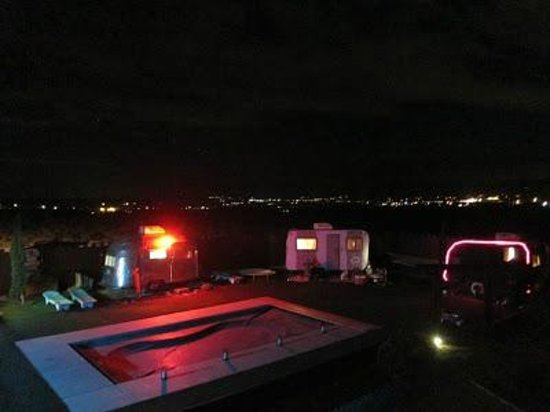 Hicksville Trailer Palace by night (from the jacuzzi deck)