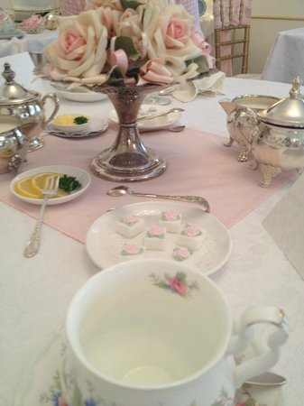 Tea & Niceties:                   Table Setting - beautiful sugar cubes!