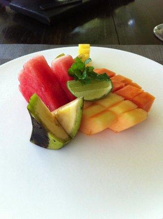 The Lombok Lodge:                   fresh fruit platter during breakfast