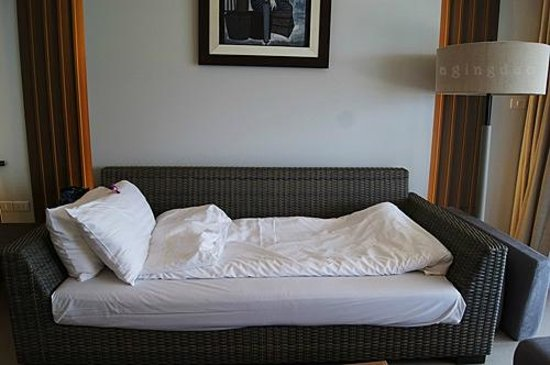 Cape Panwa Hotel:                                     big sofa turned into sleeping couch for 3rd guest