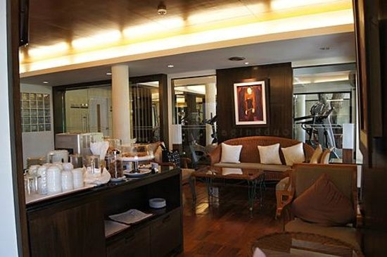 Cape Panwa Hotel:                                     Cape Lounge, fitness room at the back