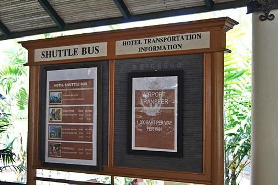 Cape Panwa Hotel:                                     shuttle bus schedules