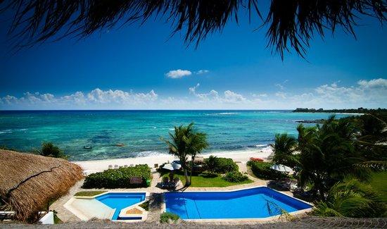 Las Villas Akumal:                   Aussicht vom Restaurant