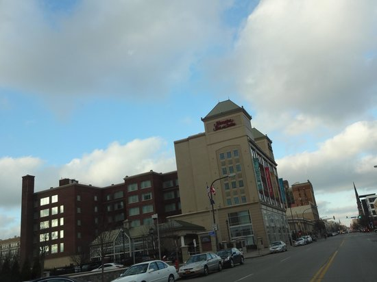 Hampton Inn & Suites Buffalo Downtown:                   Hotel from the road