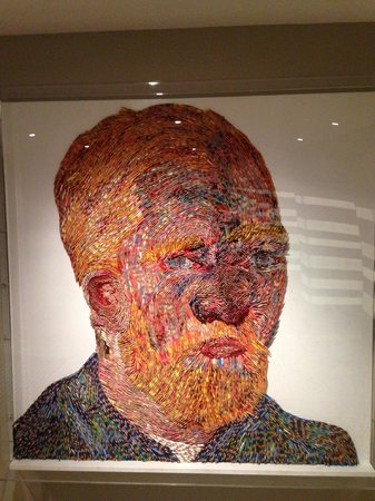 Hilton The Hague: Van Gogh self portrait in the lobby. Done with 13,000 pencil crayons.