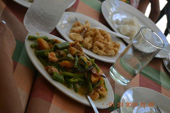 Seabird International Resort :                                     Food at the hotel:  Pepper shrimp and pakbet