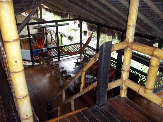 Maquipucuna Reserve & Ecolodge:                                     looking down from third floor of open air main lodge