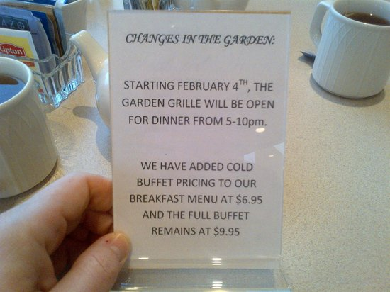 Hilton Garden Inn Columbus-University Area:                   Breakfast Information
