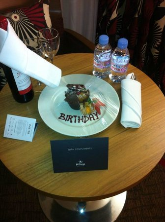 Hilton London Olympia:                   Cup cake and bottle of wine free when we arrived