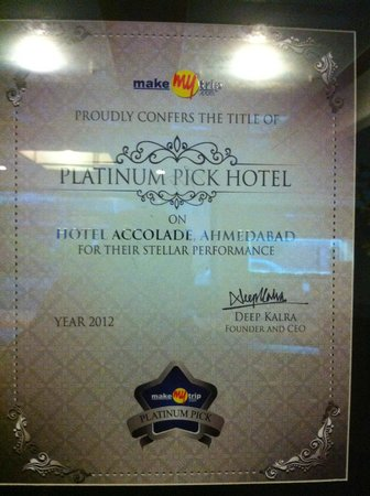 Hotel Accolade: AWARD OF NOT SUCESS BUT POINT OF YOUR SATISFACTION