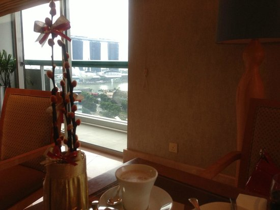 Fairmont Singapore:                   View of the Marina area from the executive lounge