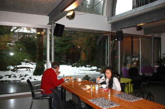 Marie-Rose Debruyne Bed and Breakfast:                   Petit déjeuner servi dans la salle de séjour avec vue sur le jardin