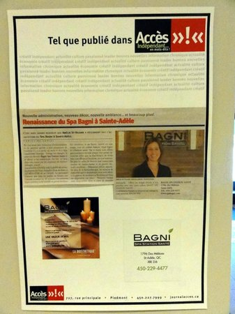Bagni Spa:                   Newspaper article on their wall