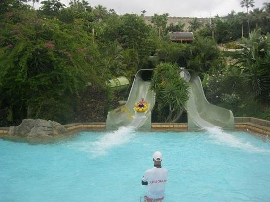 Siam Park: coming down one of the snakes