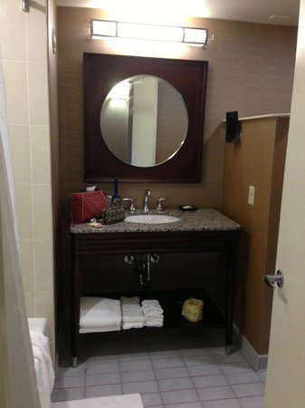 Sheraton Tampa Brandon Hotel:                   Bathroom, to the left was the shower (good shower head, very clean) and to the