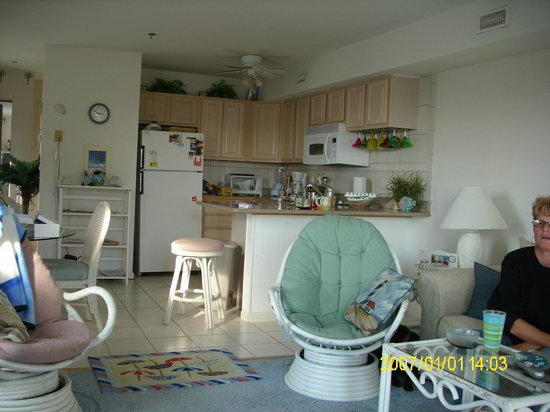 Marylander Hotel Condo:                   Kitchen & Living Room