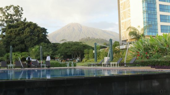 Mount Meru Hotel:                                     Mt. Meru view from pool area