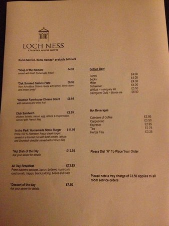Loch Ness Country House Hotel at Dunain Park : Menu - Example