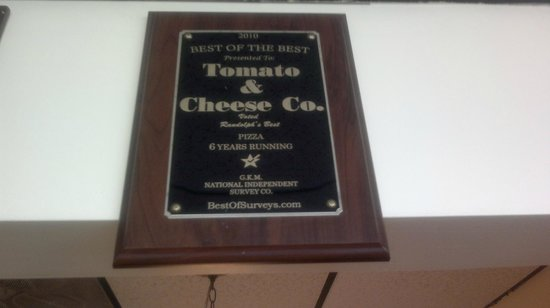 Tomato & Cheese Co: Award winning pizza for 8 years in a row!