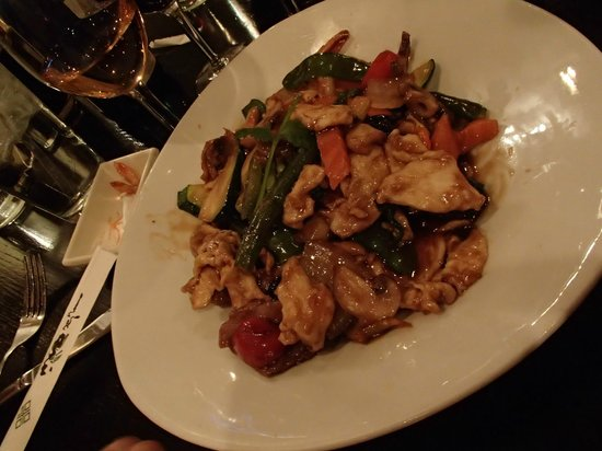 Bamboo Asian Cuisine & Sushi Bar:                   Thai basil chicken, beef and shrimp.