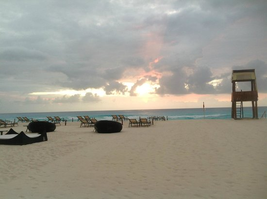ME Cancun:                                     the beach area at 6am