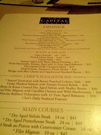 Capital grille menu prices