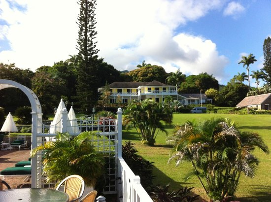 Ottley's Plantation Inn:                                     View of the Plantation House from the breakfast veranda
