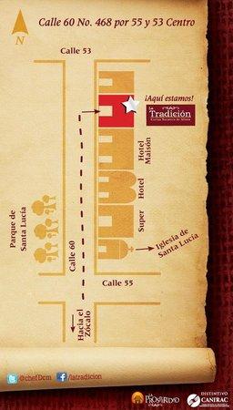 La Tradicion suc. centro historico: Mapa, a 3 locales de la iglesia de Santa Lucia hacia el norte