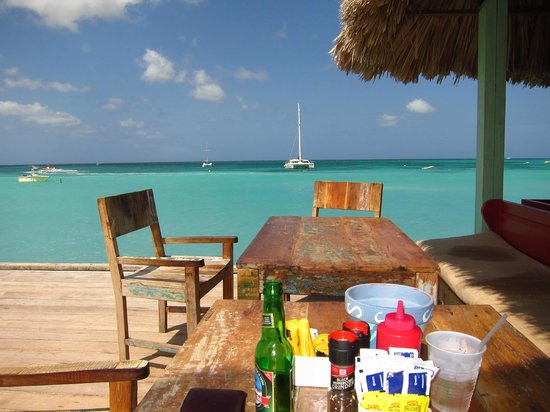 Bugaloe Beach Bar & Grill:                                     Tables by the water