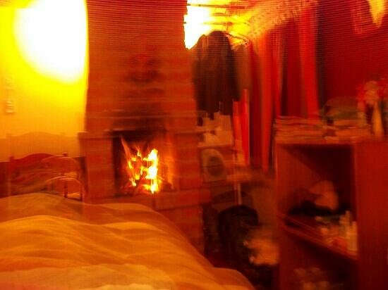 La Luna Mountain Lodge: blazing fire in the room at night to take the chill away.