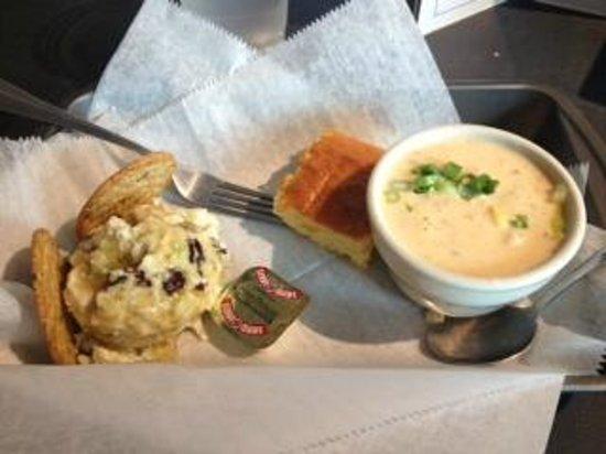 Relish Cafe & Market Place :                   Pick two - Shrimp Corn Chowder & Chicken Salad