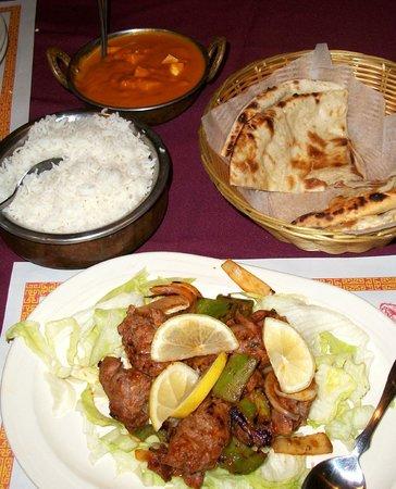 Karma Indian Cuisine:                   Paneer Masala, Basmati Rice, Naan, Seekh Kebob (lamb)