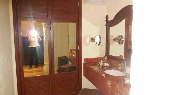 The Royal Playa del Carmen:                   View of the Bathroom - They have great bathrobes and toiletries