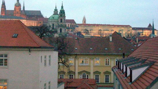 Mandarin Oriental, Prague:                   Evening view from Premier Castle View Room
