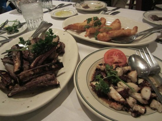 Greek Islands Restaurant West:                   grilled octopus, lamb riblets, fried orange roughy