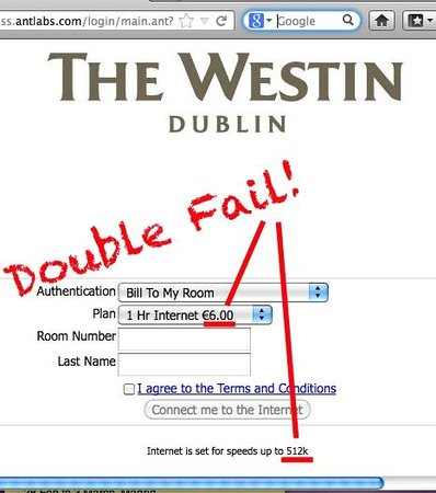 The Westin Dublin:                   Wifi access...