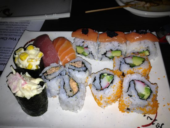 Miso:                                                                         Assorted sushi