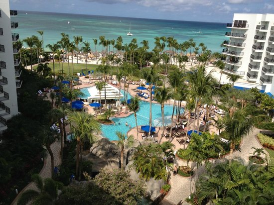 Aruba Marriott Resort & Stellaris Casino:                   The pool and beach from our room