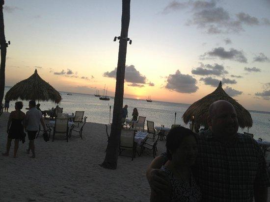 Aruba Marriott Resort & Stellaris Casino:                   Sunset at Simply Fish